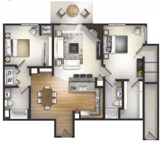 Floor plan at Highlands at River Crossing Apartments , Wisconsin 54986