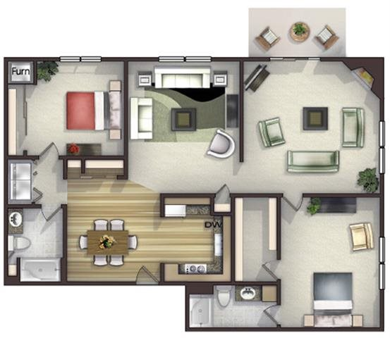 Floor plan at Highlands at River Crossing Apartments , Winneconne, Wisconsin