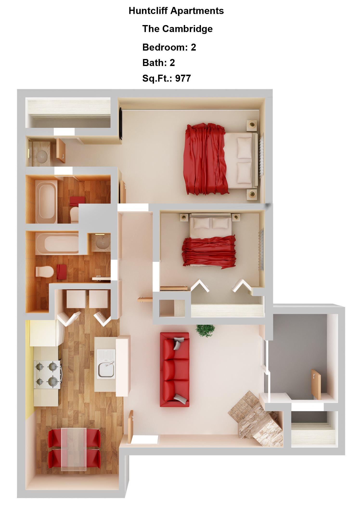 Cambridge  2+2 Floor Plan 3