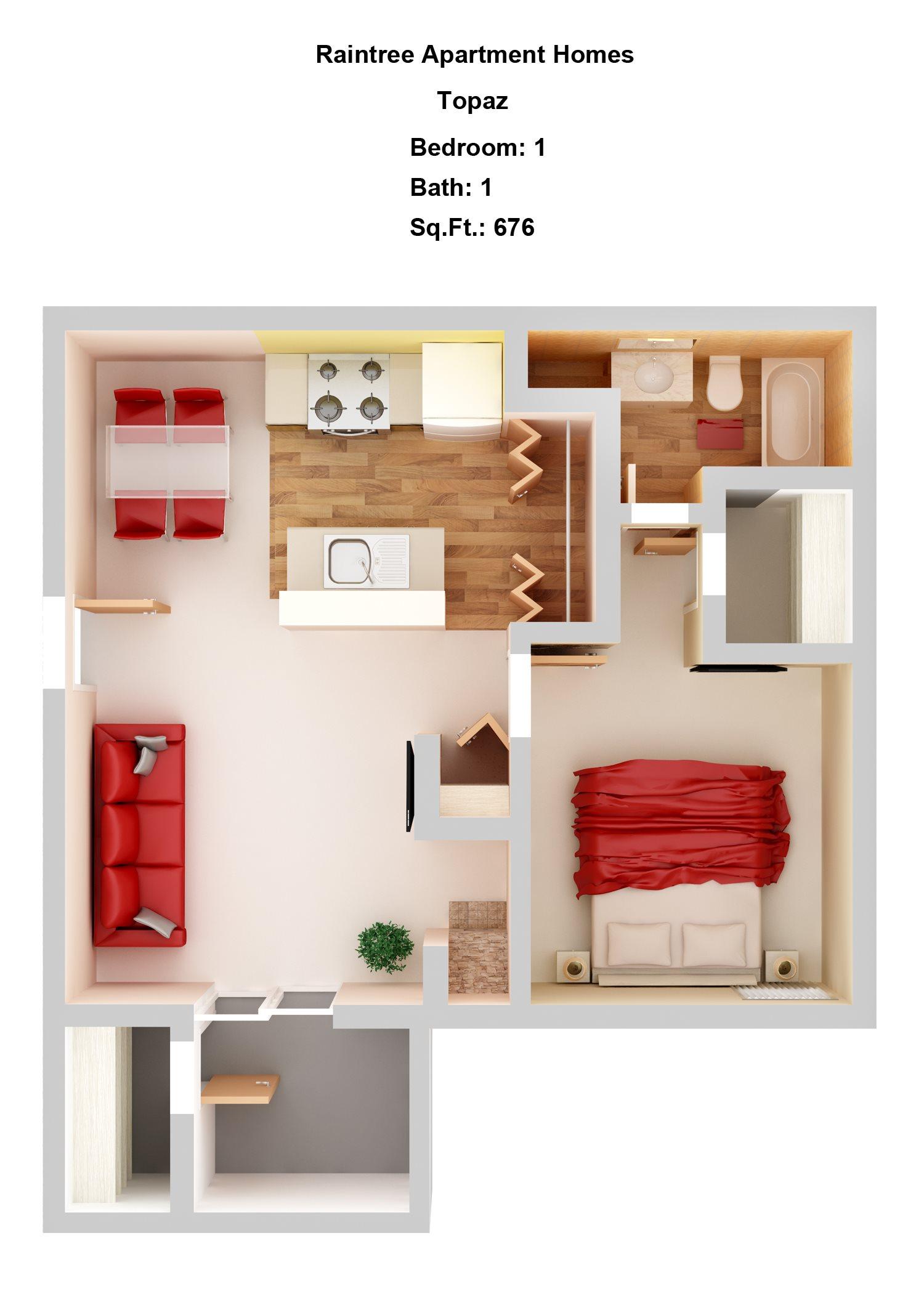 Topaz 1+1 Floor Plan 2