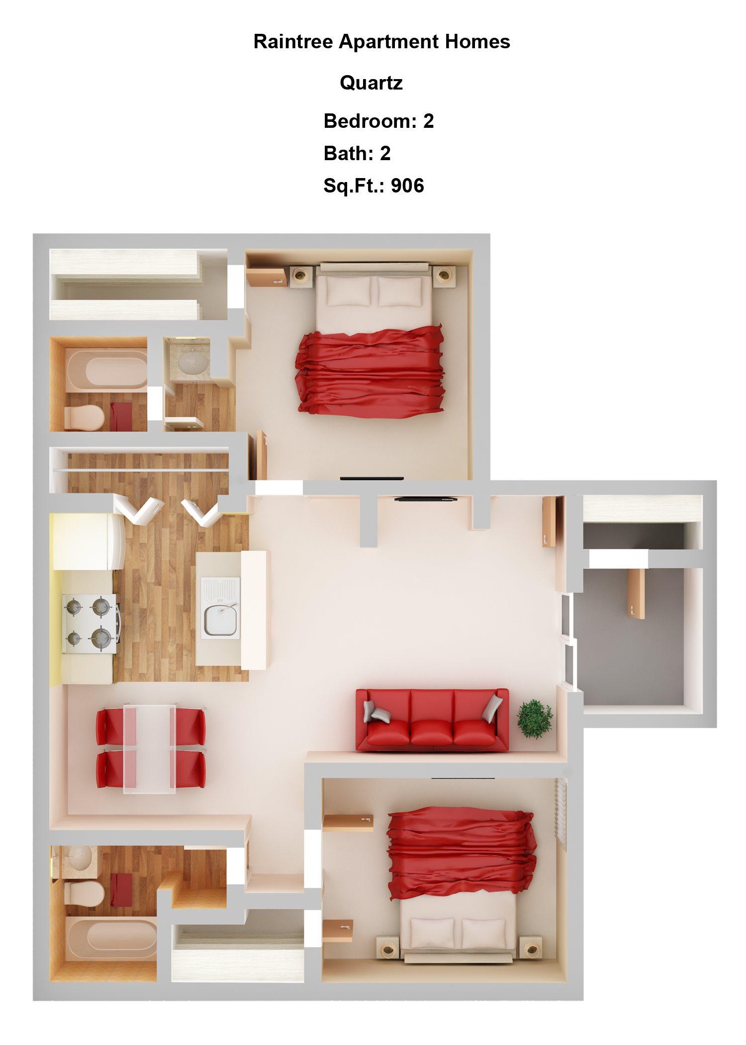 Quartz   2+2 Floor Plan 4