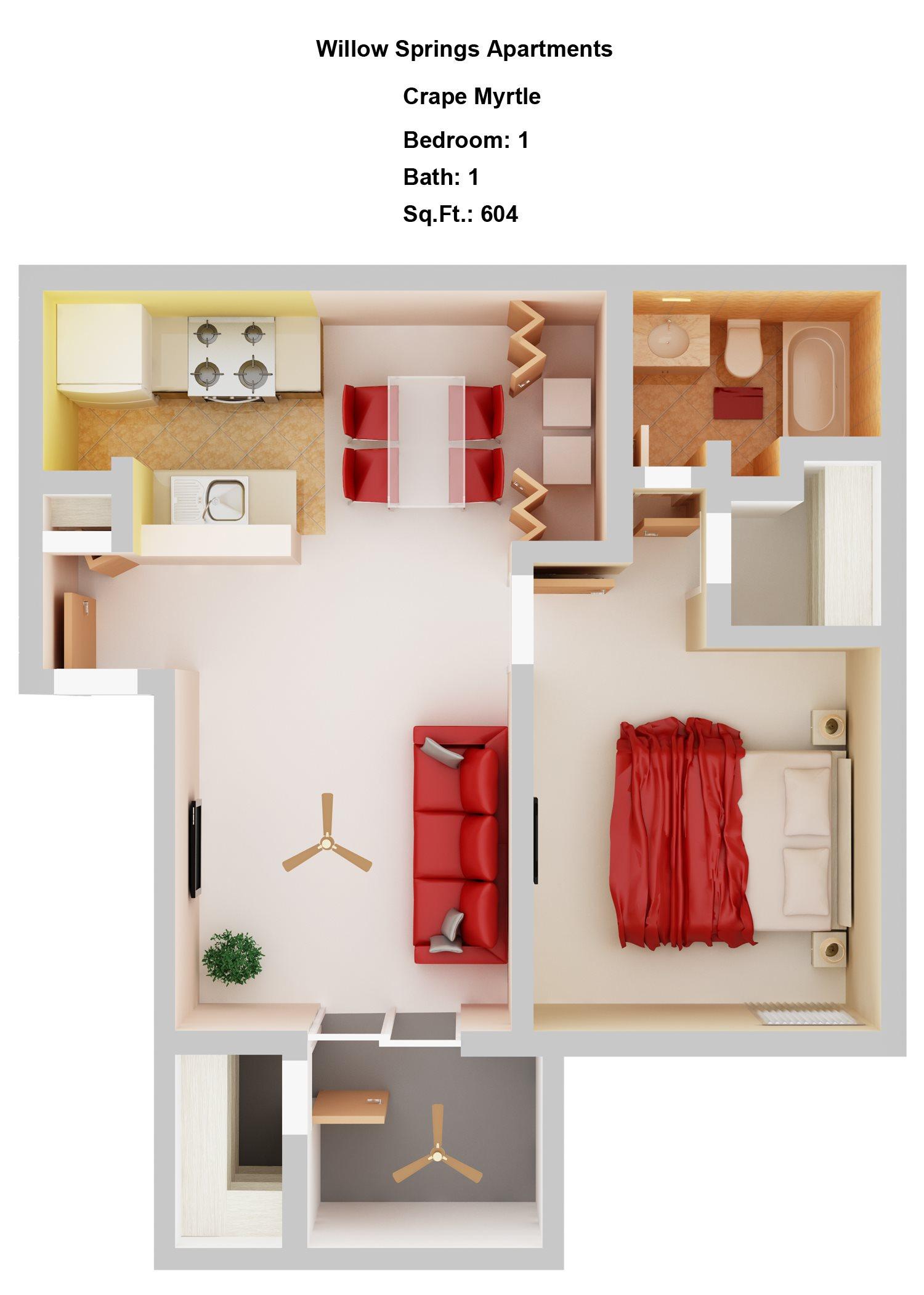 Crape Myrtle   1+1 Floor Plan 1