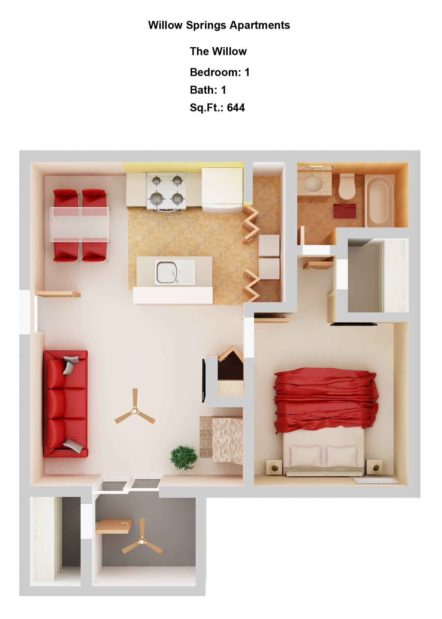 Willow      1+1 Floor Plan 2