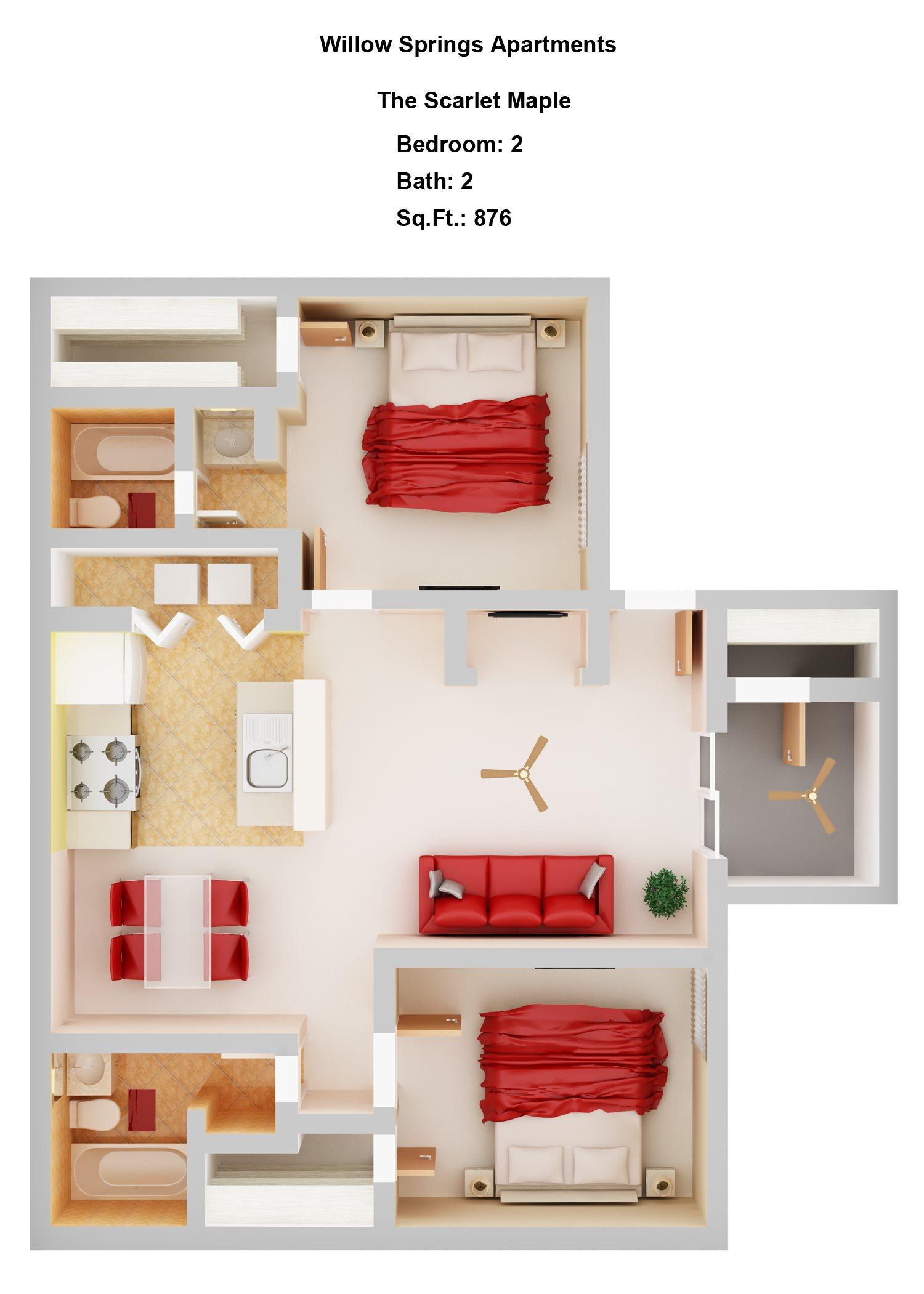 Scarlet Maple    2+2 Floor Plan 4