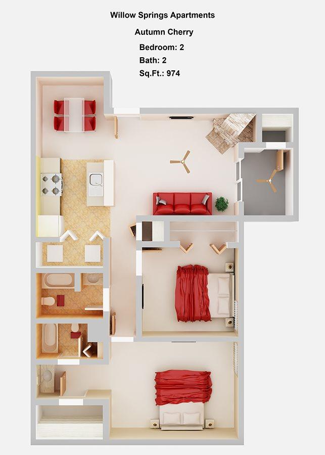 Autumn Cherry    2+2 Floor Plan 5
