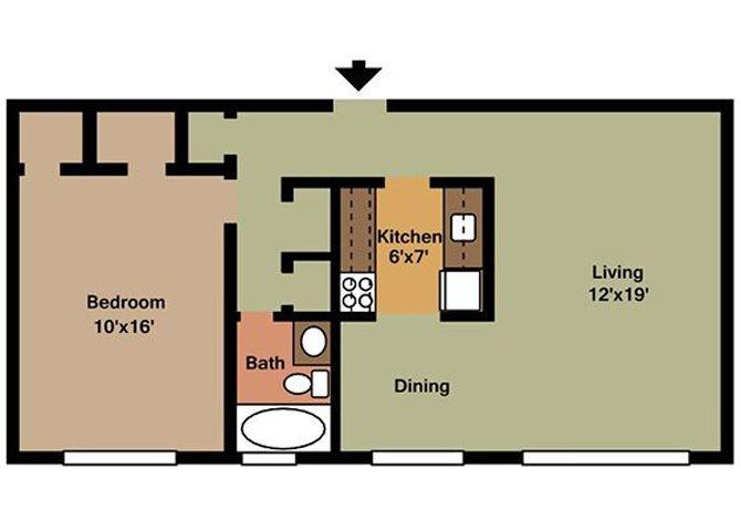 Large One Bedroom Floor Plan 2