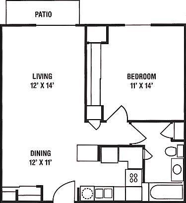 1 Bedroom, 1 Bath Floorplan at Brookfield Highlands Apartments 55+