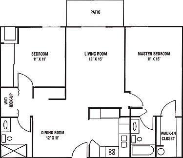 2 Bedroom, 2 Bath Floorplan at Brookfield Highlands Apartments 55+