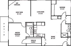2 Bedroom, 2 Bath with Greatroom and Fireplace Floorplan at Foresthill Highlands Apartments & Townhomes 55+