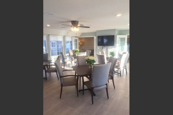 Community Room With Pleanty of Seatiing Area for Resident Events at Wildwood Highlands Apartments & Townhomes 55+, WI,53051