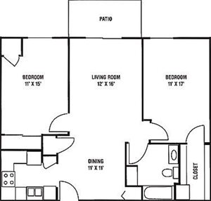 2 Bedroom, 1 Bath Floorplan at Wildwood Highlands Apartments & Townhomes 55+