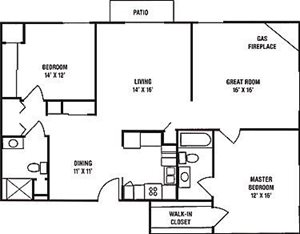2 Bedroom, 2 Bath with Greatroom and Fireplace Floorplan at Wildwood Highlands Apartments & Townhomes 55+