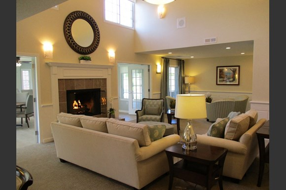 Furnished Living And  Fireside Room at Wildwood Highlands Apartments & Townhomes 55+, N78w17445 Wildwood Drive,