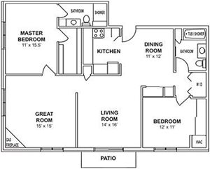 2 Bedroom, 2 Bath with Greatroom and Fireplace Floorplan at Highlands at Wildwood Lake Apartments 55+