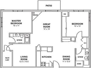 2 Bedroom, 2 Bath with Greatroom Center and Fireplace Floorplan at Highlands at Wildwood Lake Apartments 55+