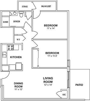 1 Bedroom, 1 Bath with Den Floorplan at Highlands at Wildwood Lake Apartments 55+