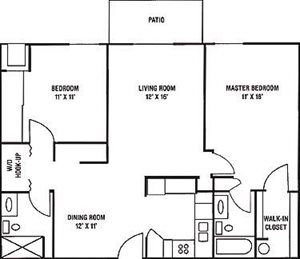 2 Bedroom, 2 Bath Floorplan at Parkway Highlands Apartments & Townhomes 55+