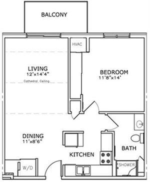 1 Bedroom, 1 Bath* Floorplan at The Highlands at Mahler Park Apartments 55+