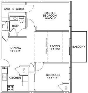 2 Bedroom, 1 Bath A* Floorplan at The Highlands at Mahler Park Apartments 55+