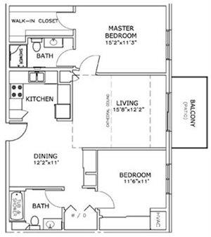2 Bedroom, 2 Bath Floorplan at The Highlands at Mahler Park Apartments 55+