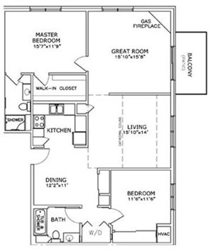 2 Bedroom, 2 Bath with Greatroom and Fireplace Floorplan at The Highlands at Mahler Park Apartments 55+