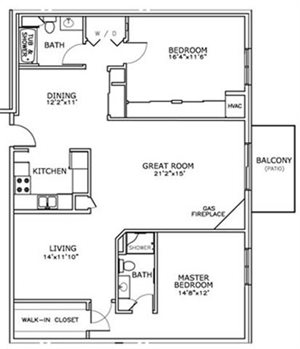 2 Bedroom, 2 Bath with Greatroom Center and Fireplace Floorplan at The Highlands at Mahler Park Apartments 55+