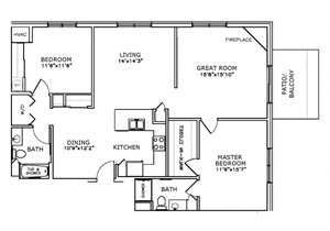 F3 - Two Bedroom, Two Bath with Great Room