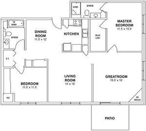 Floor plan at Birchwood Highlands Apartments, Weston 54476