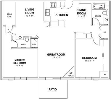 Floor plan at Birchwood Highlands Apartments, Wisconsin
