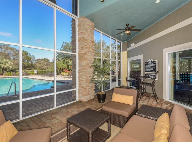 The Savannahs at James Landing Melbourne FL 32935 screened in lanai with pool view