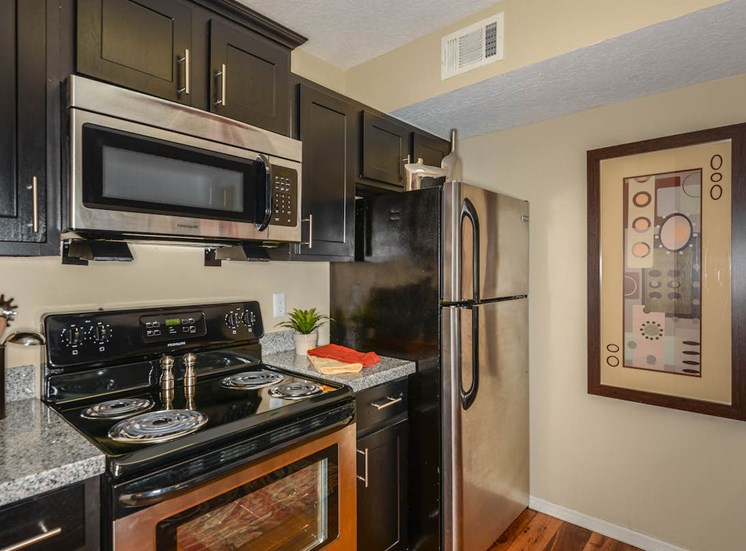 The Savannahs at James Landing Melbourne FL 32935 kitchen with black and stainless-steel appliances
