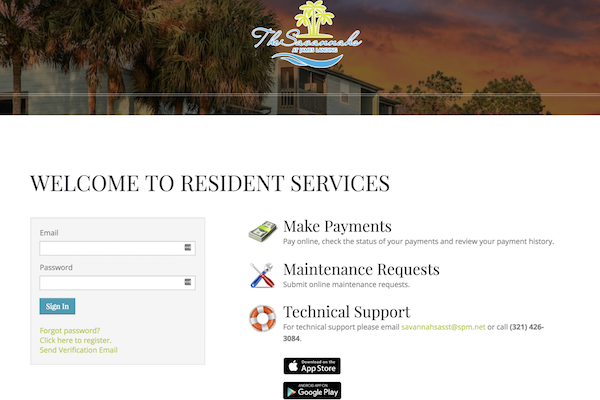 The Savannahs at James Landing Melbourne FL 32935 resident portal for payments and maintenance requests