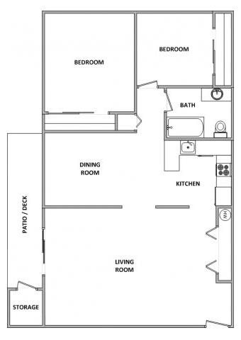 ChaletVillageApartments_Tigard_OR_2X1Floorplan