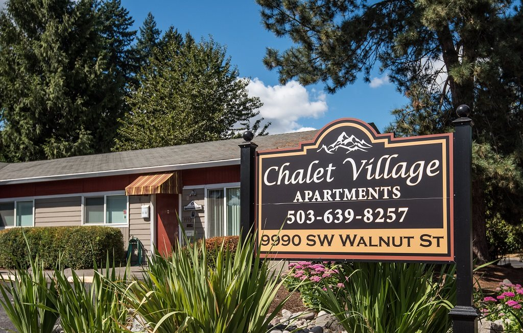 Chalet Village Property Entry Monument & Leasing Office