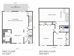 2 Bedroom, 1.5 Bath Duplex (C5)