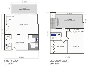 2 Bedroom, 1.5 Bath Duplex (C6)