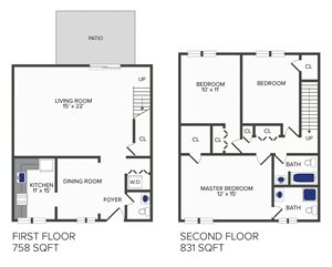 3 Bedroom, 2.5 Bath Duplex (D3)