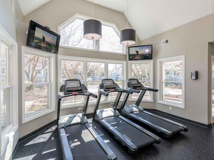Fitness Center With Outside View, at Heather Ridge Apartments, Maryland