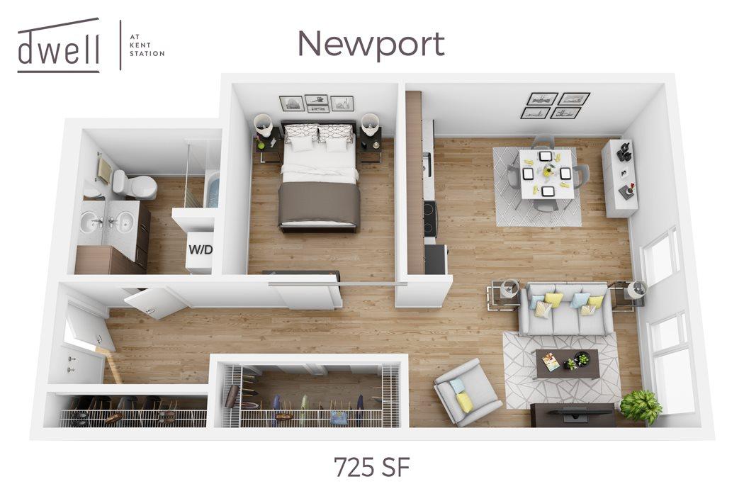 Newport Open Floorplan One Bedroom One Bath