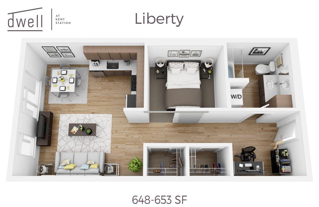 Libery Open Floorplan One Bedroom One Bath