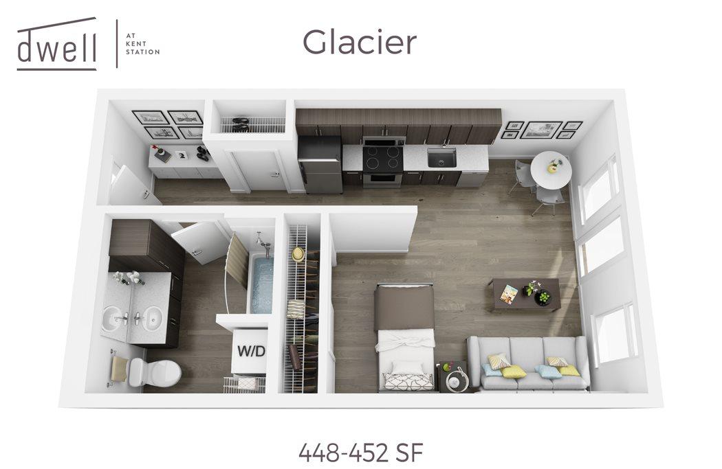 Glacier Open Studio Floorplan