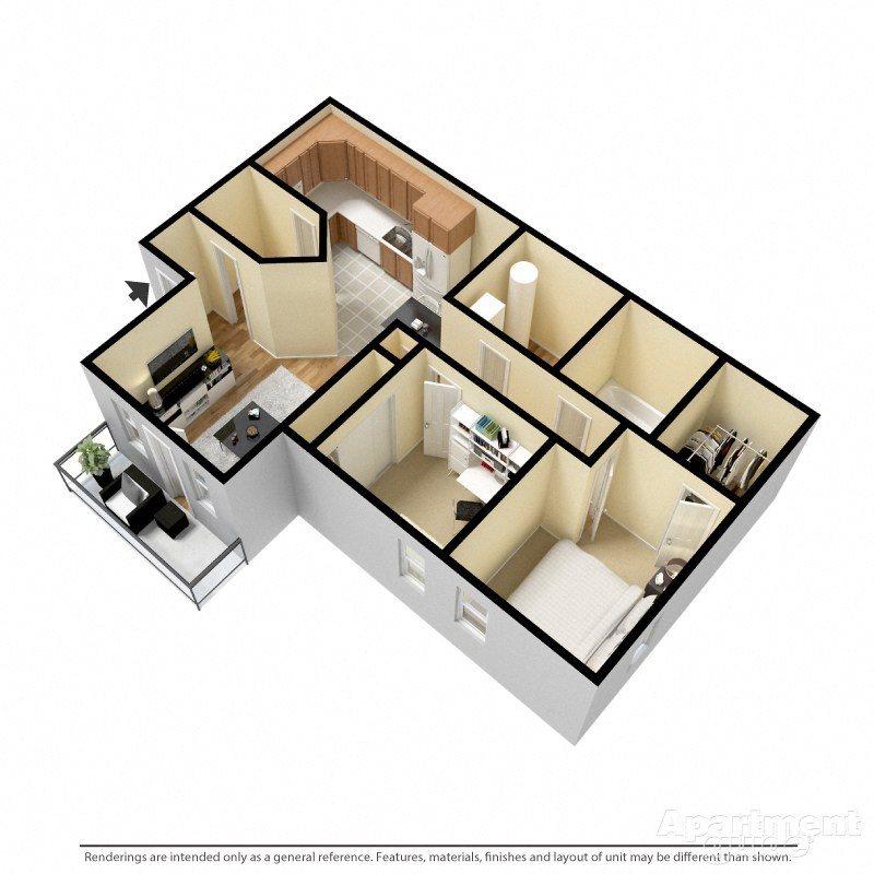 2 BED Floor Plan 1