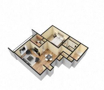 1 Bed 1 Bath - A Floor Plan 1