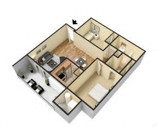 2 Bed 1 Bath - A Floor Plan 3