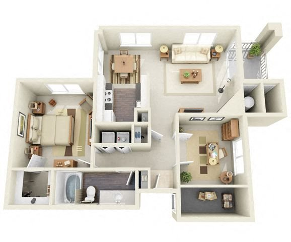 Seurat 1 Bedroom 1 Bathroom 3D Floor Plan near Denver