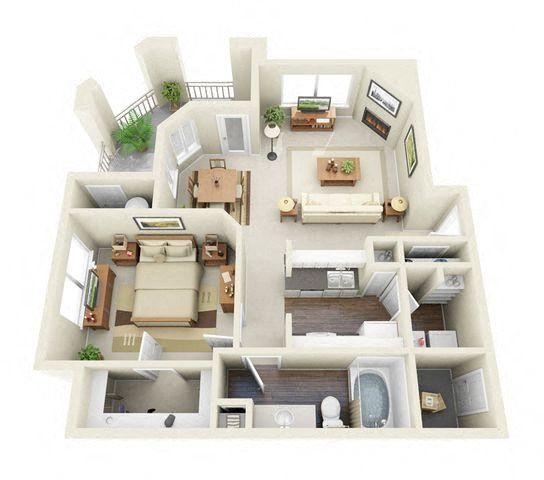 Cassatt 1 Bedroom 1 Bathroom 3D Floor Plan