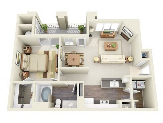 Degas 1 Bedroom 1 Bathroom 3D Floor Plan in Thornton, CO