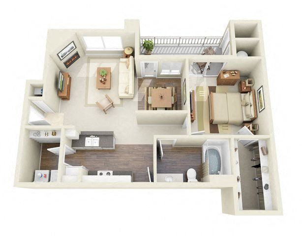 Van Gogh 1 Bedroom 1 Bathroom 3D Floor Plan near Northglenn, CO