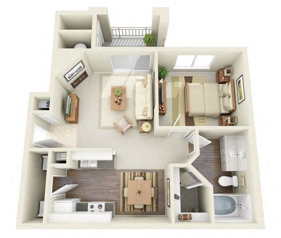 Sisley 1 Bedroom 1 Bathroom 3D Floor Plan