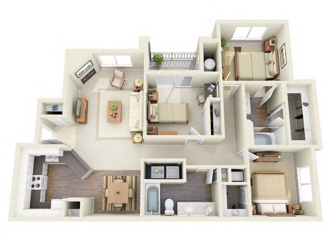 Morisot 3 Bedroom 2 Bathroom 3D Floor Plan